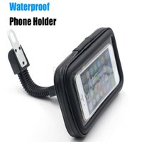 Wholesale phone holder motorcycle iphone online – Motorcycle Phone Holder Rearview Mirror Mount Mobile Phone Holder with Waterproof Case Bag for iphone plus plus s