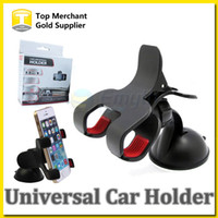 Wholesale Car Mount Rotating Clip - Universal Car Windshield Mount Mobile Phone GPS Double clip Holder Frame 360 Degree Rotating for iPhone 6 Plus 5 Samsung Galaxy Smart phone