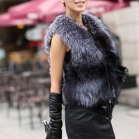 Wholesale Womens Fashion Fur Vest - Wholesale-Hot sale Autumn Winter New Silver Fox Fur Vest gilet outwear womens with Fox Heads Free shipping