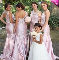 Wholesale Taffeta Convertible Dresses - 2015 Charming Pink Mermaid Bridesmaid Dress Beaded Maid of Honor Dresses with Backless One-Shoulder Pleated Long Formal Evening Gowns Dress