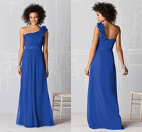 2017 Royal Blue A-Line One-Shoulder Bridesmaid Dresses Backless Sweep Train Chiffon Pleats Hand Made Flowers Evening Prom Gown sj404