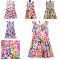 Wholesale Short Sleeve Cat Dress - Baby Dress Kids Clothing Kids Animal Dress Cat Dog Rabbit Pattern 5 Colors 5 P l free shipping