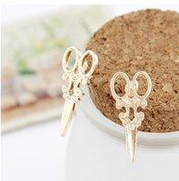 Wholesale Cute Bohemian Jewelry - Punk Scissors Shape Design Ear Studs Creative Earrings Jewelry for women girls Cute lovely unique earrings High quality