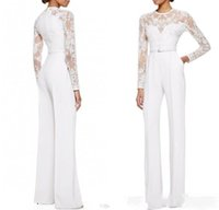 Wholesale Women Satin Jumpsuit - 2017 new White Jumpsuit With Long Sleeves Lace Embellished Women Formal Evening Wear Custom Made Mother Of The Bride Pant Suits 034