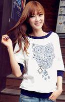 nuevo lindo animal coreano al por mayor-Camiseta de las mujeres de la moda coreana Nuevo 2014 Animal lindo Tres cuartos O-cuello Top Camisetas blancas Buena calidad más el tamaño T2018 envío rápido