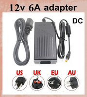 Wholesale Dc 12v Cameras - power supply 6A 72W 12V Transformer Adapter (AC 110-240V To DC 12V) Charge For LED Strip Light CCTV Camera+Cable With EU AU US UK Plug DY005