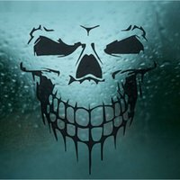 Wholesale Pet Graphics - Waterproof Car Sticker Skull Skeleton Car Hood Decal Rear PET Reflective Materials Side Door Sticker Skull Decal Graphics Stickers