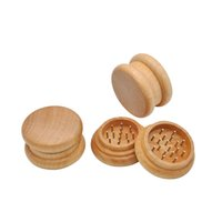 "Wholesale Natural Smoking Herbs - 2"" 53MM 2 Piece Lychee Natural Wooden Cigarette Tobacco Spice Herb Grinder Smoke Crusher Muller Handmade"
