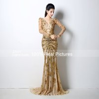 Wholesale Sequined Removable Gown - 2015 Sexy V-back Gold Lace Sequined Celebrity Dresses with Removable Sheer Long Sleeves Plunging V Neck Formal Evening Gowns Party GD-028