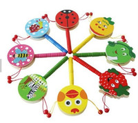 Wholesale Wholesale Children Rattle Drum - Children Baby Musical Baby Toy Hand Bell Rattle Drum Puzzle Wooden Toys Early Education Color Send Randomly