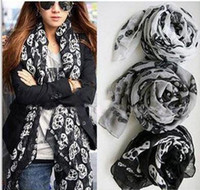 Wholesale Punk Skull Print - cheap scarves Hot promotion new skull Scarf Muffler long big shawl women fashion multicolor punk scarf scarves wraps Fashion Accessories