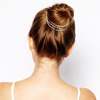 1PC Moda Mulheres Lady Girls Multilayer Tassels Pearl Chain Hairband Hairpins Barrettes Prato Clips de cabelo Acessórios de banda