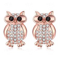 Moda Crystal Owl Stud Pendientes Rose Gold Color Luxury Animal Jewelry para Mujeres Ear Stud con Cubic Zircon Jewerly