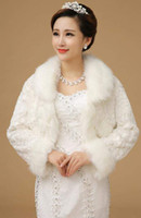 Wholesale Long Sleeve Dress Shawl - 2016 Ivory Faux Fur Stole Wrap Wedding Shrug Bolero Bridal Shawl Long Sleeves Formal Dresses Jacket Hot Cheap In Stock