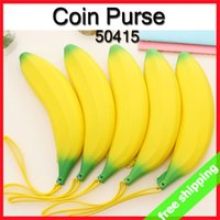 Wholesale Office Wallets - FREE SHIPPING Pencil Bag Coin Purse Banana Silicone Wallet Fruit Candy Color Special Novel Gift 6pcs lot 50415