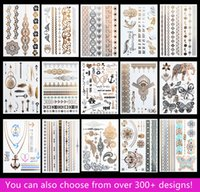 Wholesale Temporary Waterproof Body Tattoos - 15pcs lot Temporary Waterproof Flash Tattoos Non-toxic Metallic Tattoo Hot Sale Women Tattoo Jewelry And Body Tattoo!