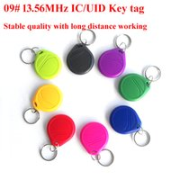 Wholesale nfc key - Smart key ring 50PCS LOT 13.56MHz UID big round NFC Key tag, high frequency Contactless UID card, NFC Rewritable key tag for smart card copi
