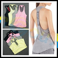Wholesale Singlet Running - summer women Gym sports vest Sleeveless shirt Fitness running Clothes sexy Tank tops workout Yoga singlets Quick dry Tunics