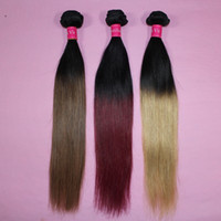 tonlar ombre saç 27 toptan satış-Brezilyalı Düz Saç Örgü Ombre İnsan Saç Atkı Iki Ton Renk 100 Perulu Saç Demetleri 1B / 27 1B / 30 1B / 99j 1B / Kırmızı