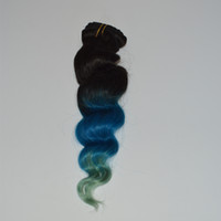 12 zoll lila haare großhandel-Ombre Clip In Menschenhaarverlängerungen 100g Lila / Blau / Cyan Drei Ton Körperwelle Indische Remy Haarverlängerungen 8 teile / satz 10-28 zoll