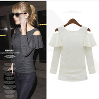Wholesale Ruffle Sleeve Tops - Big Discount Women's Ruffle Stretch Off-shoulder Shirts Long Sleeve Elegant Tops Size M L XL Party Casual Tee 38