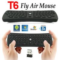 tastaturstöcke großhandel-2.4G Mini Fly Air Maus T6 2,4 GHz RF Wireless QWERTZ Maus Tastatur Fernbedienung Combo für PC Android TV Box MX MX MXIII M8 MK802 CX-919 TV Stick
