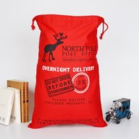 Wholesale Large Outdoor Christmas Decorations Wholesale - Christmas decoration Large Canvas Bag Santa Claus gift bag for kids DIY Party decoration DIY ornaments high quality Party Supplie wholesale