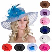 Wholesale Big Hats Feathers - Women Dress Church Wedding Kentucky Derby Wide Brim Feather Veil Classic Big Stripes Sun Beach cap A265