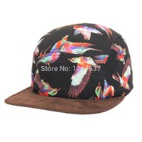 Wholesale-2015 justierbare Hip Pop Birds Drucken Strapback Hats flacher Rand-Hysteresen-Frauen-Mann-Basketball-Baseball-Cap Schwarz Goldtop