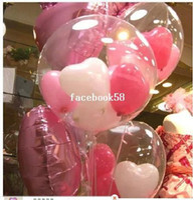 ingrosso palloncini di cuore di compleanno-Grande palla (5pcs18inch trasparente + 15 pezzi 5inch cuore) = 1 lotto fai da te trasparente palla matrimonio bambini compleanno decorazione palloncini