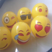 Wholesale balls smiles online – design Cartoon Emoji Balloon Yellow Smiling Face Inflation Beach Ball Summer Party Favors Swimming Pool Toys Many Styles wj C R