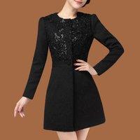 Wholesale Women S Trench Coat Pattern - Wholesale- 2016 new autumn black jacquard long trench women's windbreaker coat female 4XL plus size
