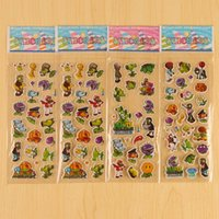 Wholesale Plant Zombies Sticker - 200 Sheets lot 3DToys cartoon mixed Pattern bubble stickers classic Emoji Smile Sticker PVZ puffy Plants vs zombies sticker