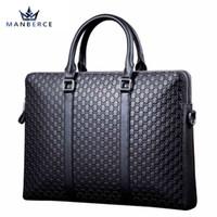 Wholesale Hugo Men - MANBERCE Top Cow Genuine Leather Bag Obag Handles Business Men Bags Crossbody Laptop Briefcases Travel Bags Bolsas Victor Hugo