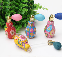 Wholesale accessories clay - 10ML Flower Perfume Bottle Polymer Clay Gasbag Fragrance Bottle Spray Atomizer Glass Essential Oil Bottle Vials Beauty Accessories 10pcs lot
