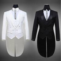 ternos brancos quentes venda por atacado-Hot 2016 Tailcoat Noivo Smoking Melhor Homem Padrinhos Homens Ternos De Casamento Notch Lapela Desempenho Terno Preto Branco (Jacket + Pants + Tie + Vest) 652
