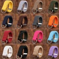 hebilla de doble anillo al por mayor-Cinturones de cintura de los hombres de las mujeres Anillos de la hebilla Cinturón de lona unisex ocasional Lienzo militar Cintura casual KKA3240