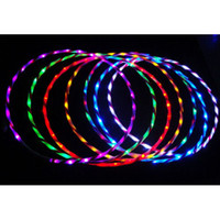 Barato Flash De Corpo Conduzido-Atacado- Nova luz colorida LED Flash mais Hula Hoop Fitness Sports aumentou 60cm 70cm 80cm 90cm Fitness Body Building Equipments