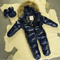 Wholesale Winter Fur Outfits - Wholesale-Baby snowsuit 2015 new winter boys one-piece outfits hooded genuine raccoon fur collar thermal baby girls jumpsuits snow wear