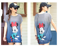 Wholesale-2016 nette plus Größen-Frauen-Maus-Drucken-T-Shirt lange Art-lose beiläufige Damen-T-Shirts Süße Minnie Tops Drop Shipping RH9