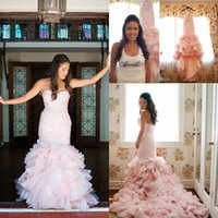 Wholesale Cheap Bridal Gown Brooches - Real Image Pink Mermaid Wedding Dresses Swetheart Back Lace Up Tiered Beads Pick Ups Beach Wedding Gown Organza Sashes Cheap Bridal Dress