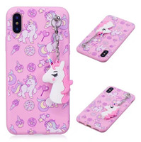 Wholesale 3d Huawei Phone Case - Unicorn Pendant Cartoon Cute 3D Soft Silicone Phone Cover Case For Iphone x 7 6 Samsung Galaxy S8 Plus Note 8 Huawei P10