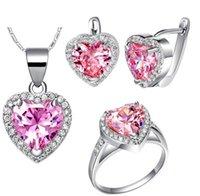 bracelet en diamant couleur achat en gros de-chaming plus de couleur diamant coeur collier de dame (45cm) bracelet boucles d'oreilles (sp3658) urer