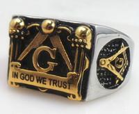 Wholesale Wholesale Masonic Rings - free shipping! freemason masonic ring for men,IN GOD WE TRUST master signet ring in stainless steel , customer ring design