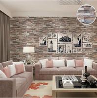 vinyl-ziegel-tapeten großhandel-Gekritzel-Ziegelstein-Stein-Tapeten-Vinyl der Küche-3D Effekt prägeartiger Brown-Ziegelstein-Wand-Papierrolle für die Schlafzimmer-Wand-Bedeckung