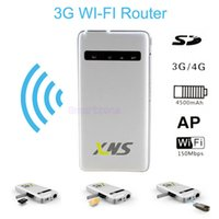 Wholesale Sim Card Portable Wifi - Portable 3G WiFi Router Wireless 150Mbps with Sim Card Slot and Bluid-in 4500mAh Battery Support WCDMA HSPA