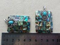 halskette rechteck perlen großhandel-5 Stücke Gepflasterte Kristall stein Perlen Natürliche rechteck Abalone Shell Anhänger für DIY Charme Halskette Schmuck Machen PD42
