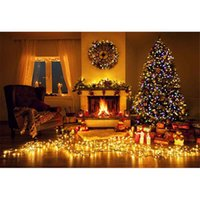 Wholesale Vinyl Glitter Fabric - Indoor Sparkling Christmas Tree Photography Backdrop Vinyl Fabric Curtain Window Glitter Light Clock Fireplace Background for Photostudio