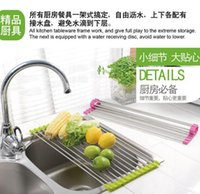 Wholesale 2015 Creative Hot Root cm Sink Rack Roll Stainless Steel Silicon Handy Portable Folding Drain Rack New