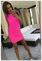 vestidos de cocktail venda por atacado-Frete grátis New high-end das mulheres por atacado sexy borla cor sólida Fino vestido sem mangas das mulheres Vestidos de Cocktail